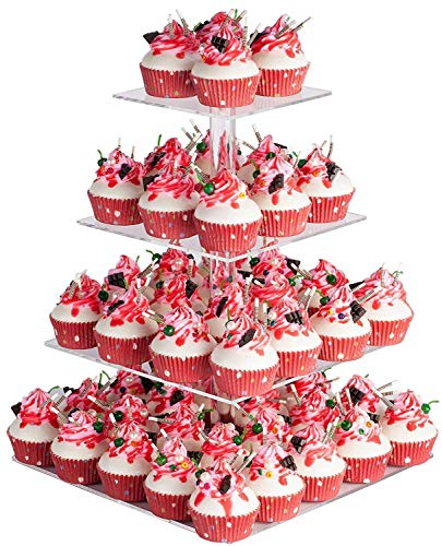YestBuy 4 Tier Acrylic Cupcake Stand, Premium Cupcake Holder, Acrylic Cupcake Tower Display Cady Bar Party Décor – Display for Pastry(4.7' Between 2 Layers)