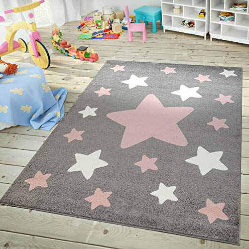 Rug for Kids Room & Nursery Starry Sky Star Pattern Playroom in Dark Gray Pink White, Size:5'3' x 7'3'