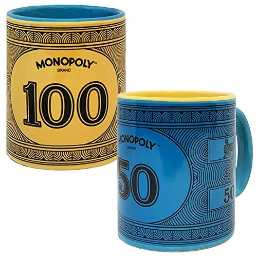 Monopoly Money Coffee Mug Gift Set of Two Mugs, Includes $100 Monopoly Original Yellow Mug and $50 Monopoly Vintage Blue Mug, Ceramic Monopoly Edition 12 oz Mugs, Dishwasher Safe and Microwave Safe