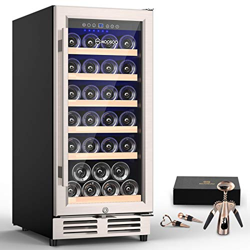 MOOSOO 15 Inch Built-in Wine Cooler, 30 Bottles Constant Temperature Wine Cabinet with Stainless Steel Tempered Glass Door, Energy Saving, Quick Cooling Wine Fridge with Temperature Memory Function