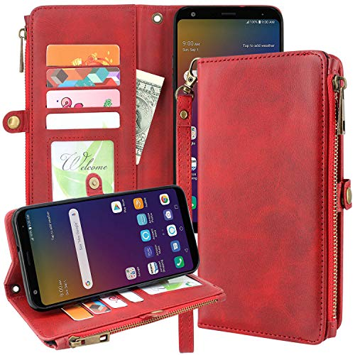 Linkertech Galaxy S8 Active Case, [Kickstand Feature] PU Leather Wallet Flip Pouch Case Cover with Wrist Strap & Card Slots for Samsung Galaxy S8 Active (Zipper Red)