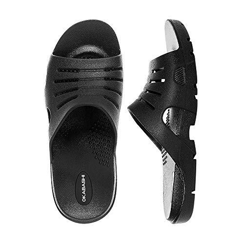 OKABASHI Men's Eurosport Slide Sandals (Black, L) | Flip Flop Slides w/Arch Support | Versatile Muscle Recovery & Shower Shoe