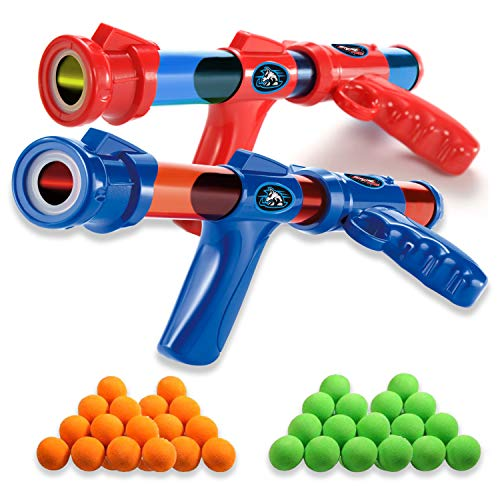 Fstop Labs 2 Pack Set Power Popper Gun with 40 Pcs Balls, Dual Battle Pack Foam Ball Air Powered Shooter Toy Guns for Kids Role Playing Great Toy for Indoor and Outdoor
