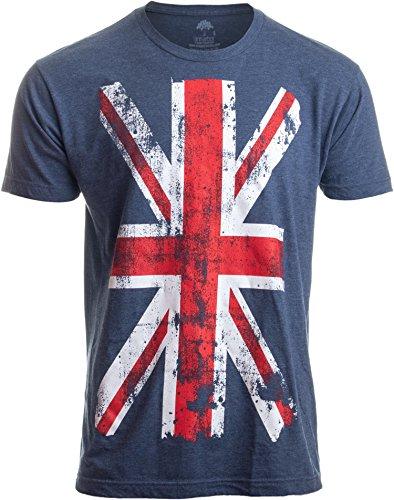 Union Jack Flag | UK United Kingdom Great Britain British for Men Women T-Shirt-(Adult,L) Vintage Blue