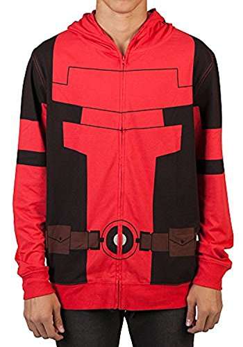 Marvel Deadpool Mens Cosplay Costume Hoodie (Medium)