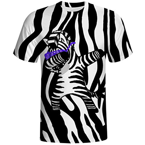 Dabbing Zebra Print Graphic T-Shirt 3D Print Tops Casual Short Sleeve Tees for Men S