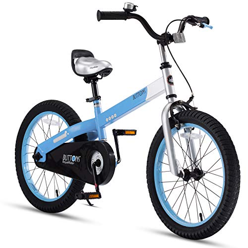 RoyalBaby Boys Girls Kids Bike 18 Inch Matte Button Bicycles with Kickstand Child Bicycle Blue