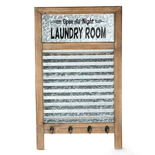 EMAX HOME Large Farmhouse Metal and Wood Washboard with Towel Hooks for Laundry Room,Vintage Laundry Room Wall Decor Sign with Galvanized Memo Board 24.75' x 15'
