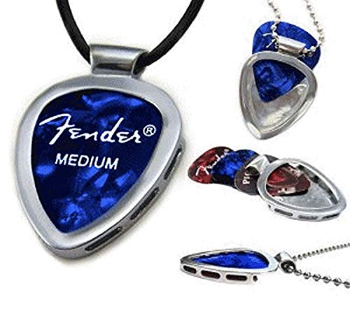 PickBay Stainless Steel Guitar Pick Holder w Black Leather ADJ Cord Guitar Pick Pendant Necklace w Fender Guitar Pick