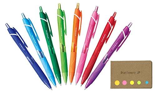 Uni-ball Jetstream Retractable Ballpoint Pen, Medium Point 0.7mm, 8 Colors, Sticky Notes Value Set