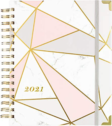 2021 Planner - Weekly & Monthly Planner with Tabs + Luxury Vegan Leather and Thick Paper, Back Pocket with 15 Notes Pages + Gift Box - 8.25' x 9.25'