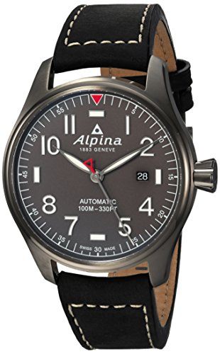 Alpina Men's Startimer Stainless Steel Swiss-Automatic Watch with Leather Strap, Black, 21 (Model: AL-525G4TS6)