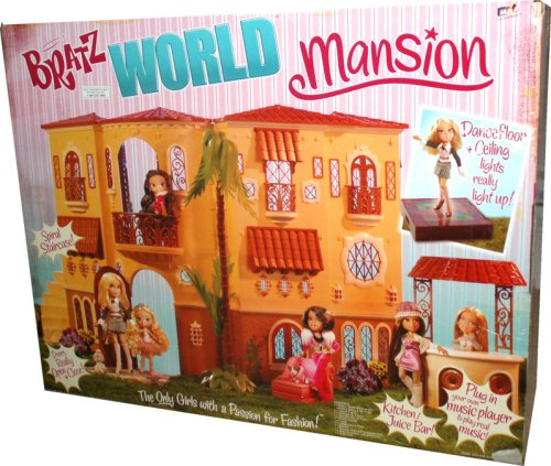 Bratz World Mansion with Interior Lighting and Mirror Ball, 1 Tree (in 5 Pieces), 1 Staircase (in 3 Pieces), 1 Smoothie Bar (in 4 Pieces), 1 Chaise Lounge, 3 Pillows, 1 Lighted Dance Floor, 1 Balcony, 1 Tabletoop Barbeque/DJ Scratch Deck, 1 Sheet Decorative Adhesive Decals and 1 Audio CordDolls are not included in the set and are sold separately)