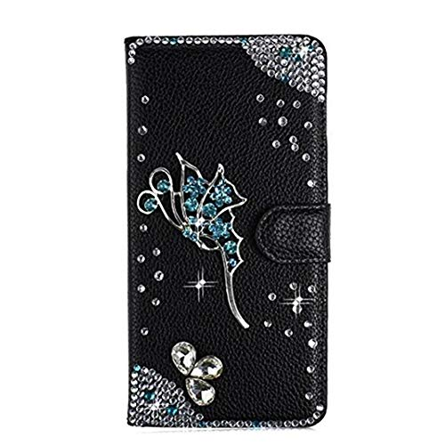 STENES Bling Wallet Case Compatible Samsung Galaxy S6 Active - Stylish - 3D Handmade Fairy Design Leather Cover with Neck Strap Lanyard [3 Pack] - Black
