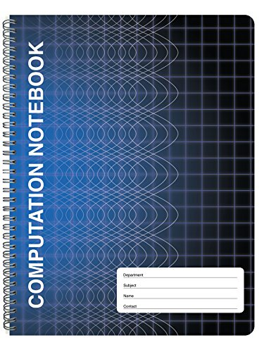 BookFactory Computation Notebook/Engineering Notebook - 100 Pages (9 1/4' X 11 3/4') - Scientific Grid Pages, Durable Translucent Cover, Wire-O Binding (COMP-100-CWG-A-(Computation))