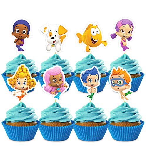24 Decorations for Bubble Guppies Cupcake Toppers Birthday Party Supplies Toppers for Children