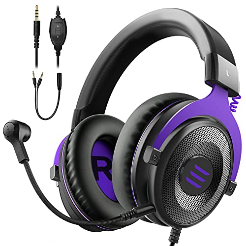 EKSA E900 Gaming Headset with Microphone - PC Headphone with Detachable Noise Canceling Mic, Gaming Headphones Compatible with PS4/PS5 Controller, Xbox One, Nintendo Switch, PC, Computer, Call Center