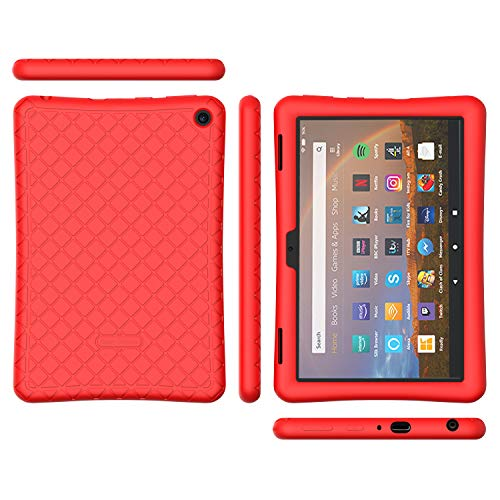 Bear Motion Silicone Case for All-New Fire HD 8 2020 - Anti Slip Shockproof Light Weight Kids Friendly Protective Case for All-New Fire HD 8 / HD 8 Plus 2020 (All-New Fire HD 8 2020, Red)