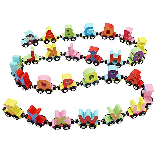 Wooden Train Set 27 PCS - Wooden Train Cars Alphabets Set Includes 1 Engine - Toy Train Sets For Kids Toddler Boys And Girls - Compatible With Thomas Train Set Tracks And Major Brands - Wooden Box