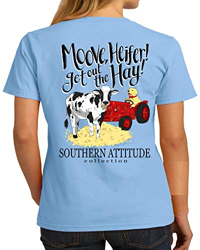 Southern Attitude Moove Heifer Get Out The Hay Sky Blue Women's Short Sleeve T-Shirt (Large)
