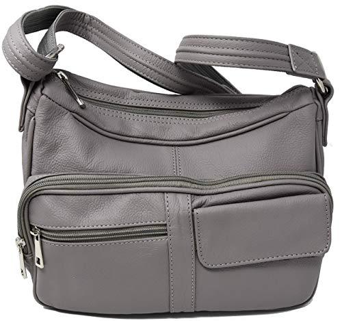 Garrison Grip Crossbody or Shoulder Carry Leather Locking Concealment Purse - CCW Concealed Carry Gun Bag (Grey)