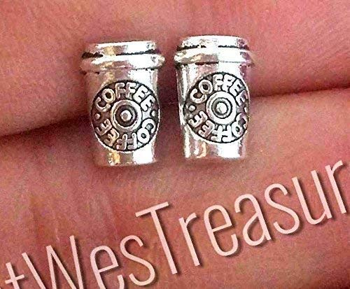 Small tiny steel coffee cup stud earrings for her women-Coffee stud earrings