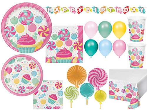 Girls Birthday Party Candy Bouquet Themed Pink Party Supplies Disposable Tableware Bundle | Candyland Sweet Treats, Ice Cream, Cupcakes, and Lollipops | Plates, Napkins, Cups, Table Cover and Decorations for 16 Guests (105 Pieces)