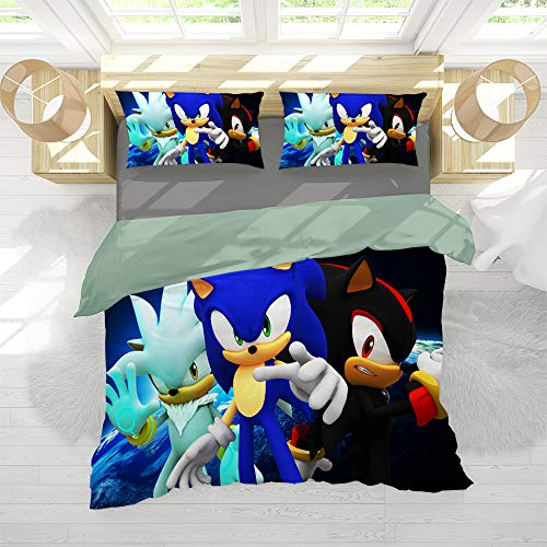 Sonic The Hedgehog Bedding 3-Piece Twin Bed Sheets Set, Washed Microfiber 3 Piece Bedding Sets Printed Bedding Sonic Shadow