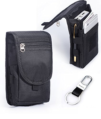 Hengwin Nylon Smartphone Holster for iPhone 12 Pro Max 11 XS Max XR 8 7 6 Plus Belt Clip Loop Case Cell Phone Pouch Samsung Galaxy Note 20 Ultra 10+ 9 8 5 S20 Ultra S10 S9 S8 Plus Holder Men Belt Bag
