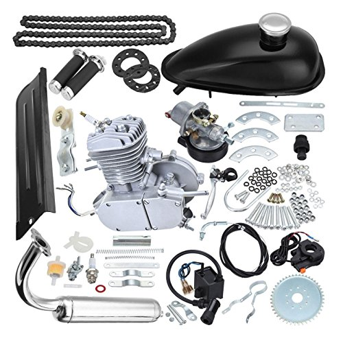 80cc 2-Stroke Bicycle Gasoline Engine Motor Kit DIY Motorized Bike Single Cylinder Air-cooled Silver