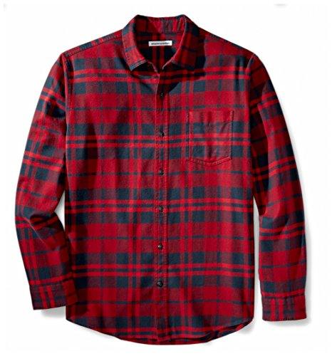 Amazon Essentials Men's Regular-Fit Long-Sleeve Plaid Flannel Shirt, Red Plaid, XX-Large