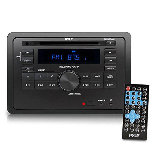 Pyle Double DIN In Dash Car Stereo Head Unit - Wall Mount RV Audio Video Receiver System with Radio, Bluetooth, CD DVD Player, MP3, USB - Includes Remote Control, Power and Wiring Harness - PLRVST400