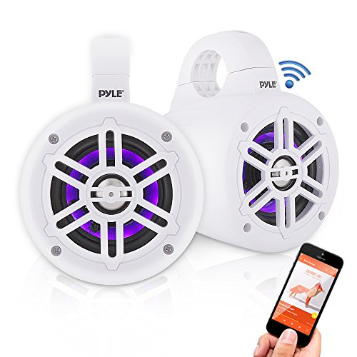 Waterproof Marine Wakeboard Tower Speakers - 4in Dual Subwoofer Speaker Set w/LED Lights & Bluetooth for Wireless Music Streaming - Boat Audio System w/Mounting Clamps - Pyle PLMRLEWB47WB (White)