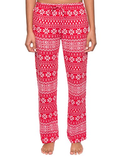Noble Mount Thermal Pajama Pants for Women - Fair Isle Red/White - X-Large