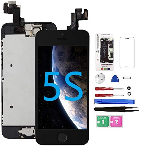 for iPhone 5S Screen Replacement with Home Button Black, Mobkitfp Full Assembly LCD Touch Digitizer with Camera+Ear Speaker+Sensors+Repair Tools+Screen Protector for A1533, A1457, A1453, A1530