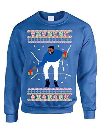 Allntrends Adult Crewneck 1-800 Hotline Bling Ugly Christmas Sweater (3XL, Royal Blue)