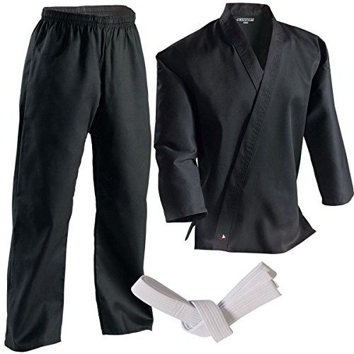 Century Martial Arts Middleweight Student Uniform with Elastic Pant - Black, 3 - Adult Small