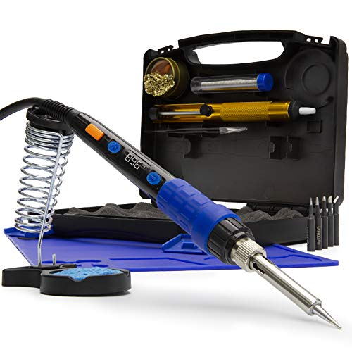 YIHUA 928D 65W Fully Digital LED Display Soldering Iron Tool Kit with Adjustable and Accurate Temperature, 194~896℉/90~480℃, °F/°C, Digital Temp. Correction Function, Sleep Function, Aluminum Stand