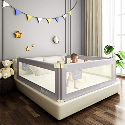 Bed Rails for Toddlers, Baby Bed Rail Guard with Double Lock, Extra Long Vertical Lifting Guardrail for Queen & King Mattress (78' - 1 Side only)