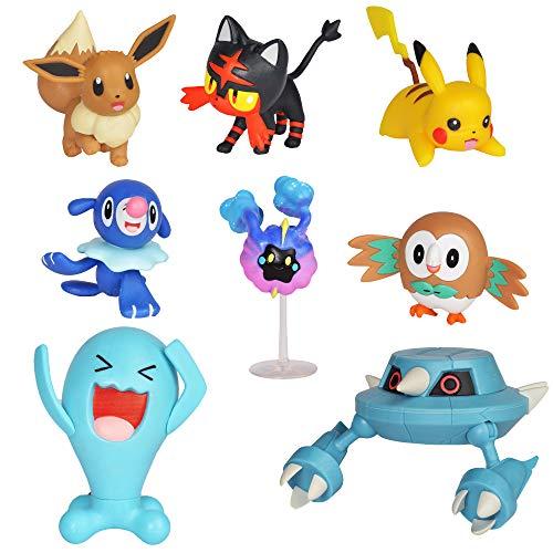 Pokemon Action Figure Mega Battle Pack - Comes with 2' Rowlet, 2' Popplio, 2' Litten, 2' Eevee, 2' Pikachu, 2' Cosmog, 3' Metang, and 3' Wobbuffet