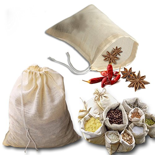 kingleder 12Pack Reusable Drawstring Cotton Soup Bags, Straining Herbs Cheesecloth Bags, Coffee Tea Brew Bags, Soup Gravy Broth Stew Bags, Bone Broth Brew Bags(4''x6'')