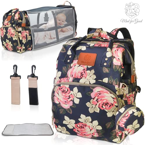 Mad for Good Diaper Bag Backpack – 3 in 1 Diaper Bag with Changing Station – Unique Waterproof Backpack with Modern Floral Design – UV Sunshade, Mosquito Net, Insulated Bottle Pockets & Pacifier Case