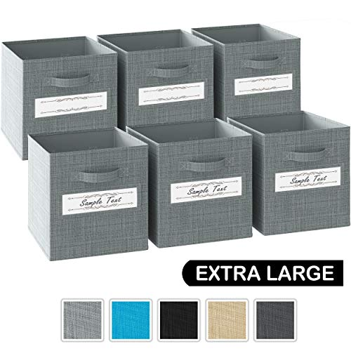 13x13x13 Large Storage Cubes - Set of 6 Storage Bins  Features Label Window 2 Handles   Cube Storage Bins   Foldable Closet Organizers and Storage   Fabric Storage Box for Home, Office (Grey)