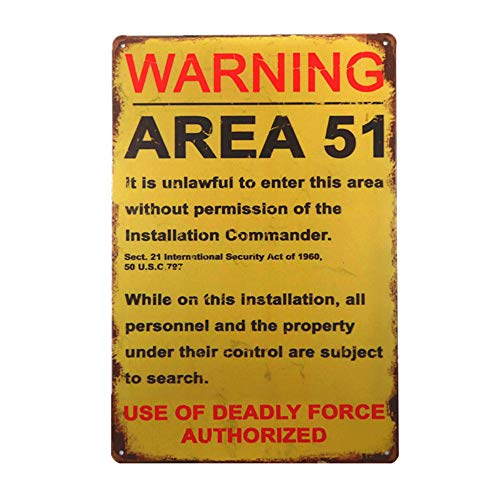 dingleiever-Funny Decorations Vintage Warning Signs Area 51 Garage Poster Outdoor Yard Sign Funny Gifts