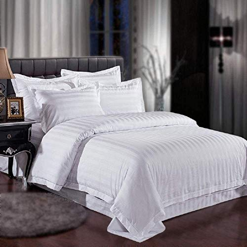 Stripe Collection Bed Sheet Set – 800 TC Luxury Soft 100% Egyptian Cotton 27''-30'' inch Deep Pocket 4-Piece Bedding Set -Queen Size - White