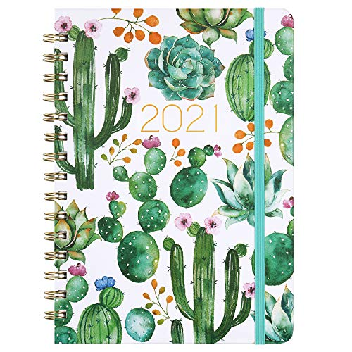 Planner 2021 - Weekly & Monthly Planner 8.5' x 6.4', Jan 2021 - Dec 2021, Flexible Hardcover, Strong Binding, Thick Paper, Tabs, Inner Pocket, Elastic Closure, Inspirational Quotes