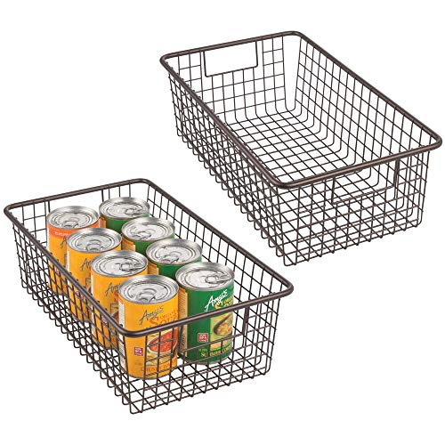 mDesign Modern Farmhouse Metal Wire Storage Organizer Bin Basket with Handles for Kitchen Cabinets, Pantry, Closets, Bedrooms, Bathrooms - 16.25' Long, 2 Pack - Bronze