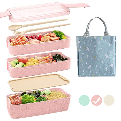 Ozazuco Bento Box for Kids Japanese Lunch Bento Box, 3-In-1 Compartment - Wheat Straw, Leakproof ,Microwave Safety,BPA free Kids Lunch Containers (Pink)