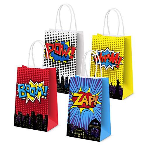 JOYET Superhero Party Supplies Favors, Superhero Party Bags For Superhero Theme Birthday Party Decorations Set of 16 (4 Colors)