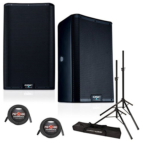 QSC K8.2 8-Inch 2000 Watt Powered PA Speakers (PAIR) w/XLR Cables & Speaker Stands